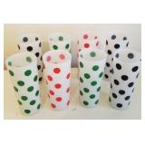 Mid-Century Frosted Polka-Dot Drinking Glasses