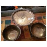Silverplate Cake Stand & Medium Bowls