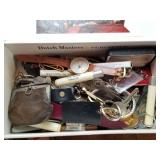 Cigar Box Full of Desk Drawer Trinkets/Collectible