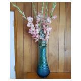 "39"" Tall Blue Hobnail Stretch Glass Vase"