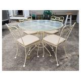 Wrought Iron Patio Table & 4 Chairs, Glass Top Tab