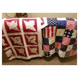 Two Nice Clean Bed Spreads, Patriotic & Red/White