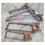 Early Saws incl. Henry Disston Thumb Hole Saw