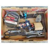 Box Lot of Shop Primitives, Tin Snips, Rulers, etc