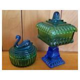 Jeanette Blue & Green Wedding Bowl & Swan Dish
