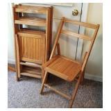 "Antique Wood ""Church Furniture Folding Chairs"""