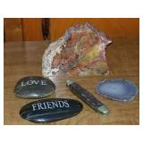 Pocket Knife & Rock Paperweights
