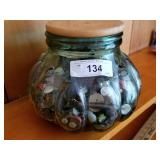 Large Covered Jar Full of Vintage Buttons