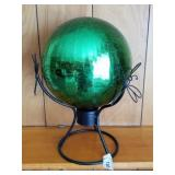 """Green Gazing Ball on Iron Dragonfly Stand, 15"""" Tal"""
