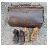 Antique Doctors Bag w/Early Childrens Shoes