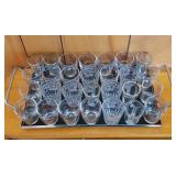 28 Vintage Shot Glasses/Cordials on Barware Tray