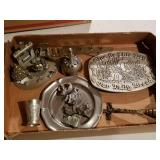 Box Lot of Pewter Figurines & Other Metalware