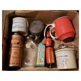 Box Lot of Vintage Tins, Advertising Items, etc.