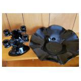 Black Amethyst Glass Console Set