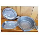 Pewter Alphabet Plate, Bread Plate, Pot