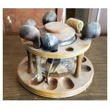 Pipe Stand w/Humidor & 6 Vintage Pipes