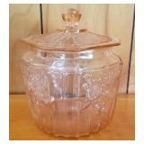 Pink Depression Glass Covered Cookie Jar