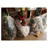 4 Small Sized Decorated Christmas Trees
