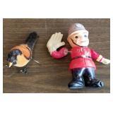 Celluloid Cop & Windup Mohair Bird Toys