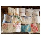 Nice Group of Embroidered Hankies, Pillowcases, et