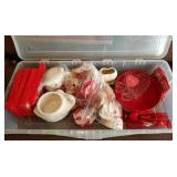 Storage Tote of Valentines Day Decorations