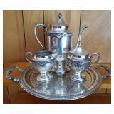 Silver on Copper Tea or Coffee Service w/Tray