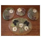 Lucite or Acrylic Butterfly & Flower Trivets