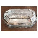 "17"" Antique Geometric Glass Shadow Box/Coffin Box"