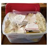 Storage Tote of Embroidered Linen, Lace, etc.