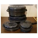 Group of Graniteware Roasters & Pan