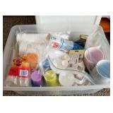 Storage Tote Full of Party Supplies, Plastic Cups,