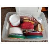 Storage Tote Full of Plastic/Paper Plates, Napkins