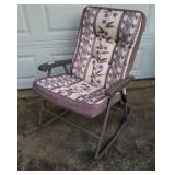 Folding Patio Rocking Chair w/Padded Cover