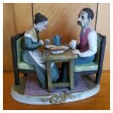 """9"""" Couple Eating Dinner Porcelain Figure"""