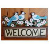 """15"""" Blue Bird Welcome Sign"""