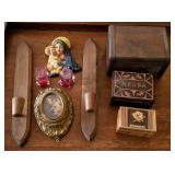 Wood Dresser Boxes, Candle Holders, Religious, etc