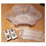 Pattern Glass Bowl, Butter Dish, Salt & Pepper Set