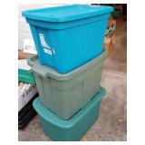 Three Nice Clean Storage Totes with Matching Lids