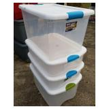 4 Good Clean Sterilite Storage Totes with Lids