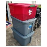 3 Large Storage Totes with Lids