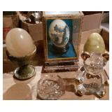Marble Eggs, Bear Paperweight, Dragon Egg in Case