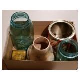 Blue Ball Jars, Namadji Vase, Tobacco Tins