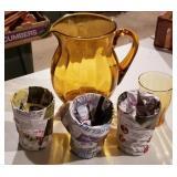 Amber Glass Beverage Set Pitcher & 4 Glasses
