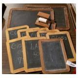 Large Group of Primitive Wood Frame Slate Boards