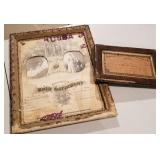 Two 19th Century Marriage Certificates Framed