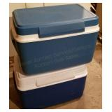 Two Rubbermaid Coolers w/Grilling Supplies