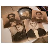 Antique Portraits & Curved Glass Oval Frame