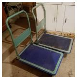 Two Folding Flatbed Utility Carts