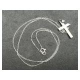 10K White Gold Cross Necklace and Chain