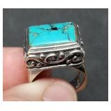 Sterling Silver Turquoise Ring, Size 9, 11.8 grams